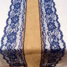 NAVY WEDDINGS/Navy Blue Burlap Lace Table Runner/ 1ft 10ft Long X13in Wide,  Wedding Decor /Weddings/centerpiece /Tabletop Decor