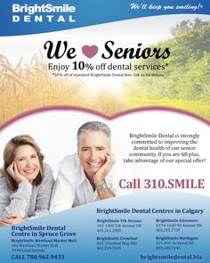 BrightSmile Dental is offering all seniors 10% off of general and cosmetic dentistry services! Check out our Special Promotions webpage for details! Simply click on the photo. We'll keep you smiling! :)