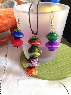 Paper bead collier and Earring by Ninfa PEMA Creations