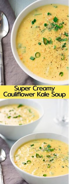 9 Healthy Vegan Kale Recipes For You To Try Dreamy, super creamy vegan cauliflower soup chock full of vegetables and oh-so-delicious. This is healthy food that doesn't taste like it! Puree Soup Recipes, Kale Recipes, Healthy Soup Recipes, Vegetarian Recipes, Cooking Recipes, Pureed Recipes, Vegetarian Vegetable Soup, Vegetable Soup Recipes