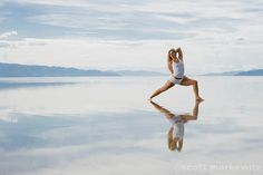 Sarah Tomson Beyer doing yoga on water at Great Salt Lake, Salt Lake City, Utah. Loved and Pinned by www.downdogboutique.com to our Yoga community boards