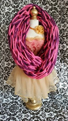 Pink and purple super bulky infinity scarf
