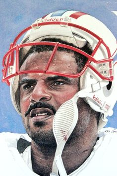 Merv Corning portrait of Warren Moon, Houston Oilers.