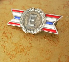 Vintage WW11 Letter E Flag Production Award Sterling Silver Pin Red White Blue Holidays Birthday Collectors
