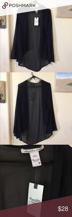 American Rag Cie black light weight kimono New with tags , scalloped trim on sleeves and at bottom , size M, roomy American Rag Jackets & Coats