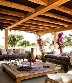 Outdoor Patio. LOVE this relaxed and comfy set up.  A deep porch with sofas and a giant giant table