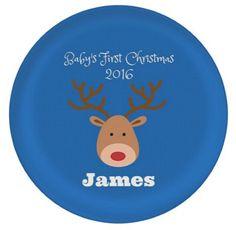 "PERSONALIZED RUDOLPH Reindeer - Baby's First Christmas - Custom 10"" Melamine Plate - Name Unisex - Christmas holiday winter gift - Keepsake"