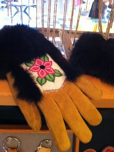 Nenana: A blend of old and new -- modern commercial work gloves decorated with traditional Athabascan Indian Alaska beadwork and fur. | Flickr - Photo Sharing!