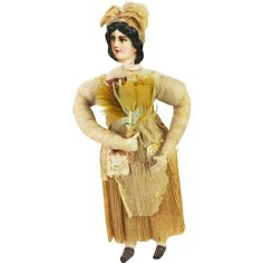 Antique German Cotton Batting Woman in Crepe Clothing Christmas Ornament ca1910