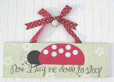 Ladybugs 8x24 Personalized Custom Wall Art