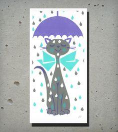 Umbrella Kitty Print | Art Prints | Print Mafia