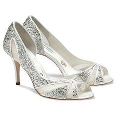 ae08ea1d806 Benjamin Adams Catherine Designer Crystal Peep Toe Wedding Shoes Bridal  Shoes