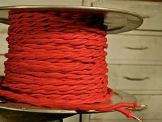 Red Twisted Cotton Cloth Covered Wire Vintage Style Lamp Cord Antique Lights   eBay