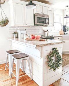 Love the ship lap under the bar diy wood countertops, diy kitchen, kitchen decor Kitchen On A Budget, Kitchen Redo, Home Decor Kitchen, New Kitchen, Kitchen Design, Kitchen Ideas, Kitchen Inspiration, Kitchen Island, Country Kitchen Farmhouse