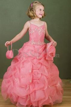 Pink Spaghetti Neckline for Romantic Ruffled Organza Flower Girl Dresses