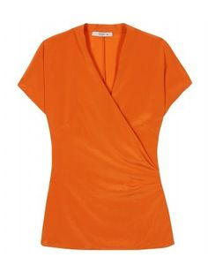 Love the orange shade. SILK WRAP TOP by Etro