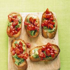 Tomato-Avocado Toasts Recipe Lunch and Snacks, Appetizers with baguette, olive oil, avocado, fresh lemon juice, coarse salt, ground pepper, grape tomatoes