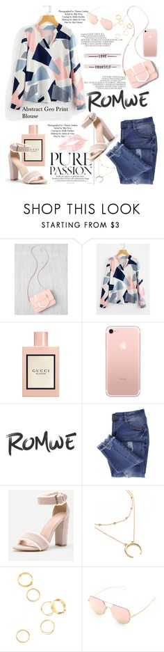 """""""Abstract Geo Print Blouse ROMWE.COM"""" by miss-maca ❤ liked on Polyvore featuring Topshop, Gucci and Essie"""