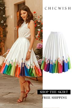 Colorful Pen Pictures – Printed Midi Skirt - The source of information passes through us Search results for: 'print midi skirt' - Retro, Indie and Unique Fashion Shop Chicwish and get up to off. Unique Fashion, Womens Fashion For Work, Mode Outfits, Dress Outfits, Fashion Dresses, The Dress, Dress Skirt, Midi Skirt, Mode Unique