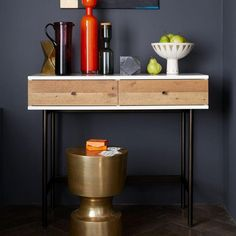 West ElmReclaimed Wood + Lacquer Console