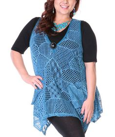 Look what I found on #zulily! Teal Sheer Patchwork Knit Tunic - Plus by Lily #zulilyfinds