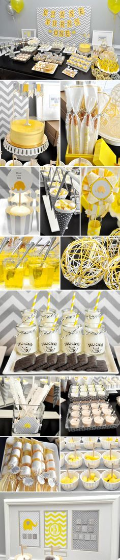 Yellow U0026 Gray Elephant Themed Dessert Bar For Baby Shower!
