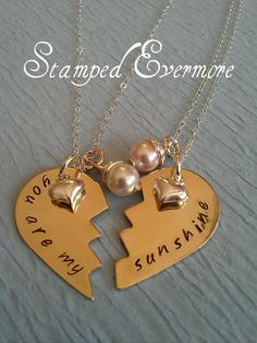 You are my sunshine necklace with Swarovski Pearls and Heart Charm. $39.00, via Etsy.