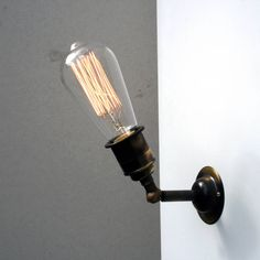 Vintage Style Industrial Wall And Ceiling Light - statement lighting Industrial Wall Lights, Vintage Wall Lights, Vintage Walls, Urban Industrial, Vintage Industrial, Industrial Style, Wooden Lampshade, Light Bulb Types, Light Fittings