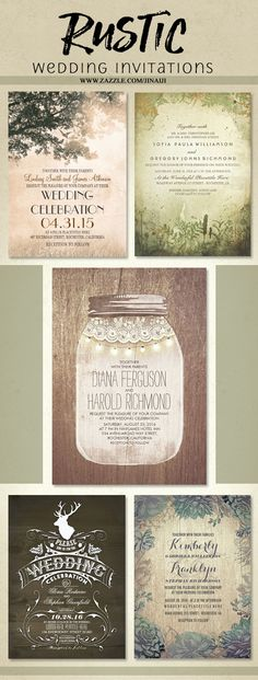 Rustic wedding invitations | invitations by Zazzle and Jinaiji | Forest Wedding, Mason Jar Barn Wedding, Rustic Deer Antlers wedding, Country Rustic Tree and Love Birds Wedding and Rustic Barn Wood and Succulents Wedding