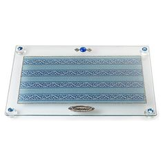 Glass Challah Board with Light and Dark Blue Motif