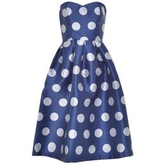 Anisa Bandeau Midi Dress in Polka Dot ($105) ❤ liked on Polyvore featuring dresses, blue dot dress, blue color dress, polka dot print dress, midi day dresses and mid calf dresses