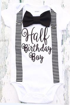 Baby Boy half birthday onesie with matching suspenders and bow tie set, 1/2 Birthday baby boy onesie, Baby boy birthday outfit by LoveAndLollipopsBaby on Etsy