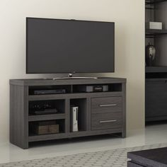 Luxe by TSI Westside Black Walnut TV Stand for TVs up to with Vertical Gaming Console Storage Glass Entertainment Center, Long Tv Stand, Walnut Tv Stand, Console Storage, Cool Tv Stands, Presentation Design Template, Vertical Storage, High Fashion Home, Living Room Furniture