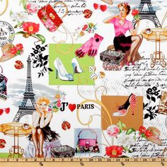 April In Paris Collage Multi from @fabricdotcom  Designed by Timeless Treasures, this cotton print fabric is perfect for quilting, home décor accents, craft projects and apparel. Colors include red, lime, black, tan, fuchsia and black on a white background.
