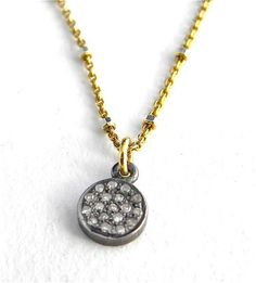 Tiny Pave Diamond Disc/Champagne  Diamond Charm Necklace/ 14 K Gold Chain/ Delicate Chain