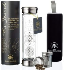 Sacred Glass Tea Infuser Bottle Tumbler. Just. Perfect. For coffee, herbal tea, cold or hot infusion.