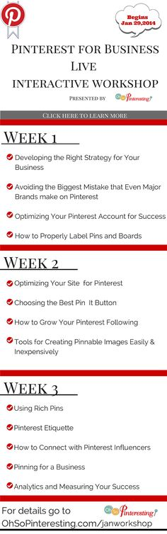 Beginnig January 29, 2014 a new session of the Pinterest for business workshop  #pinteresting