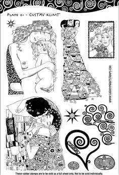 Gustav Klimt - set of unmounted rubber stamps by Cherry Pie - Plate 01