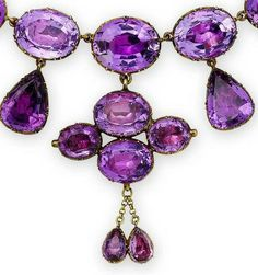 A 19th century amethyst necklace and a pair of amethyst and diamond earrings