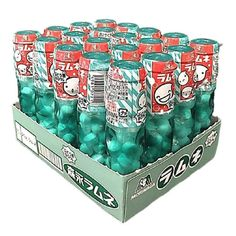 Ramune Soda Candies have been developed to taste like the original and classic Japanese sparkling lemon-lime drink that dates back to The fizzy-candies come in a plastic bottle that looks like the original glass Ramune bottle. Box of 20 bottles. Lime Drinks, Japanese Snacks, Lemon Lime, Plastic Bottles, Soda, Prepping, Decorative Boxes, Meal, Sparkle