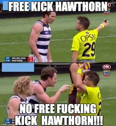 Dangerfield - Geelong Cats - No Free Fucking Kick Hawthorn Football Memes, Sports Memes, Funny Quotes, Funny Memes, Jokes, Richmond Afl, Kelly's Heroes, Aussie Memes, Australian Football League