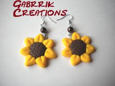 Fimo Sunflower earrings by GabrrikCreations on Etsy, €6.00