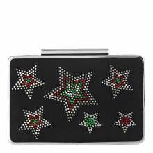 L K Bennett Black Leather Embellished Star Print Nina Clutch Bag