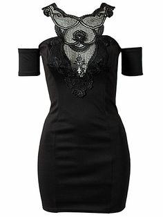 Cut Out Shoulder Dress - Club L - Black