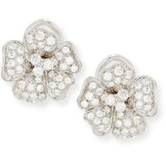 Leo Pizzo Diamond Pansy Flower Earrings in 18K White Gold (78.665.400 IDR) ❤ liked on Polyvore featuring jewelry, earrings, diamond earrings, earring jewelry, white gold diamond earrings, 18k diamond earrings and white gold diamond jewelry