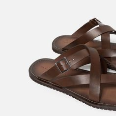 STRAPPY LEATHER SANDALS-Leather-SHOES-MAN | ZARA United Kingdom