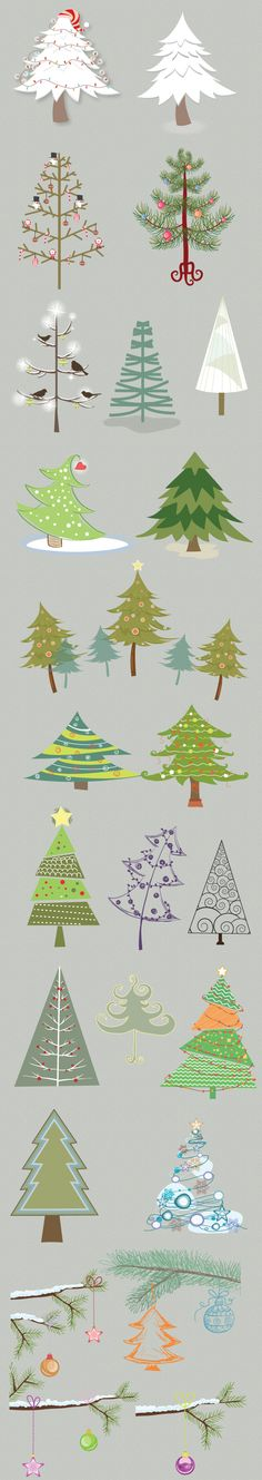 #vector-christmas-trees--good inspirations for drawing Christmas trees