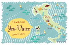 Custom Wedding Map Save the Date - Positano, Italy by cwdesigns2010, $270.00 cws-designs.com/