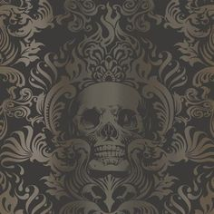 Silver, Gold, and Black Skull Damask Wallpaper - $29.99 Per Roll