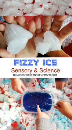 Fizzy Ice Sensory & Science Experiment - Fizzy Ice Sensory & Science Post includes a VIDEO - Kindergarten Science, Preschool Lessons, Science Experiments Kids, Science For Kids, Science Fun, Sensory Activities, Winter Activities, Toddler Activities, Preschool Winter
